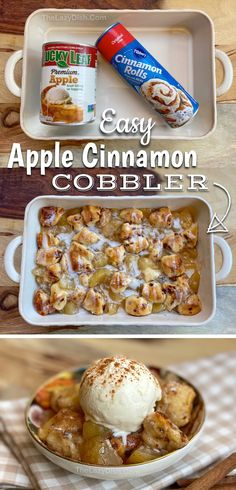 2 Ingredient Cinnamon Roll Apple Cobbler (Quick & Easy Dessert!)