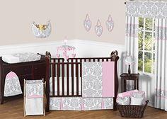 Pink, Gray and White Elizabeth Baby Girl Bedding 11pc Crib Set without bumper Sweet Jojo Designs http://www.amazon.com/dp/B019N5N68U/ref=cm_sw_r_pi_dp_XXFWwb101YBXQ