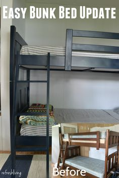 painted bunk beds with fabric