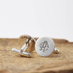 These would make the perfect gift for your groom to wear on your wedding day, or as an anniversary gift , birthday present or Christening gift. Please contact us via the 'ask seller a question' button above if you would like to see how your intials would look before placing the order.Sterling silver with a matt finish.Fronts approx 1.8cm diameter and are 1.5mm in depth. This item is hand made to order, and may vary slightly in appearance to the photograph.