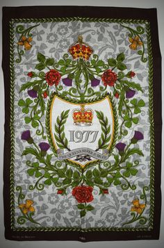 Queen Elizabeth II Silver Jubilee Tea Towel - Vintage 1977 Royal Family Majesty Crown By Clive Mayor