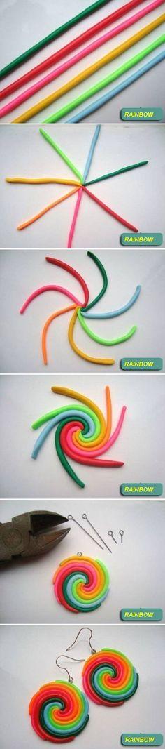 cercei handmade fimo 1 Cercei handmade fimo Rainbow Tutorial