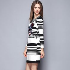 autumn womens casual dress Butterfly Embroidery stripe dresses student leisure O-neck long sleeve ladys clothing 1475
