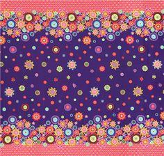 Tissu violet importé des Etats-Unis avec des fleurs multicolores et des bordures avec des losanges roses et orange