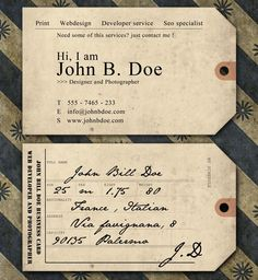 Vintage Graphic Design Vintage Ticket Business Card by jimbox - Here's 20 templates that will let you create a business card to leave a lasting impression on any prospective client. Vintage Business Cards, Unique Business Cards, Business Card Design, Business Names, Business Ideas, Photography Names Business, Name Card Design, Design Cards, Design Layouts
