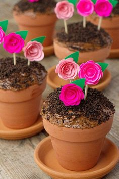 Flowerpot Cupcakes - Edible Mother's Day Gift Ideas You Should Steal From Pinterest - Southernliving. A terra-cotta pot of chocolate decadence.