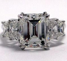 4.4CT Perfect Emerald Cut Russian Lab Diamond Stainless Steel Engagement Anniversary Ring