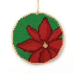 Poinsettia needlecraft tree ornament, Chick's Picks By Hillary -