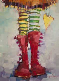 reminds me of the colourful boots and patterned tights my girl A used to wear all the time....Angela Morgan (b1972 and grew up in Pense, Saskatchewan, Canada)