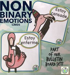 Non binary endings are included in our set of Emotions Bulletin Board cards, along with our full range of emotions such as Tengo hambre, tengo sed, estoy triste, estoy bien, and more! Mundo de Pepita, Resources for Teaching Languages to Children #bulletinboard #nonbinary #spanish #emotions