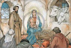 Trademark Fine Art 'Birth In Bethlehem' Canvas Art by Anton Pieck, Size: 30 x 47 Artist Canvas, Canvas Art, Anton Pieck, Dutch Painters, Vintage Scrapbook, Dutch Artists, Fairy Tree, Bellisima, Art Reproductions