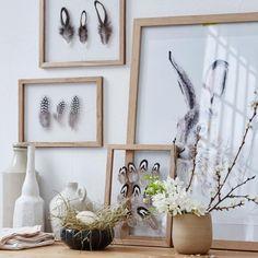 Holzrahmen Bildercollage aus Hase und Federn