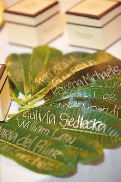 debut ideas Leaves used as escort cards for a themed destination wedding Cuba Wedding, Wedding Dinner, Wedding Night, Wedding Cards, Destination Wedding, Havana Nights Party Theme, Havana Party, Carribean Wedding, Cuban Party