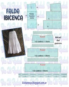 KiVita MoYo: FALDA IBICENCA Skirt Patterns Sewing, Sewing Patterns Free, Sewing Tutorials, Clothing Patterns, Sewing Tips, Sewing Pants, Sewing Clothes, Fashion Sewing, Diy Clothing