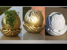 DIY- Cement Pot With Gloves/Cement Craft Ideas - Free Online Videos Best Movies TV shows - Faceclips Diy Crafts Hacks, Diy Home Crafts, Diy Arts And Crafts, Garden Crafts, Crafts To Make, Garden Ideas, Spray Paint Plastic, Painting Plastic, Plaster Crafts