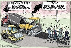 Wolverton - Cagle Cartoons - GOP Obstructs California Roads Fix - English - California, Highways, Infrastructure, Roads, Brown, Gas Tax, Vehicle fees