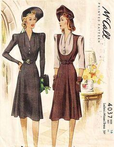 1940's McCall 4037 Dress Pattern Bust 34