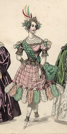 A rather wonderful, can-can-esque fancy dress costume from the March 1835 edition of The Beau Monde.