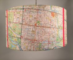 By custom order, upcycled street maps for hanging or table lighting Inner City Melbourne - hanging p Vintage Maps, Upcycled Vintage, Lamp Shades, Light Shades, Melbourne Map, Light Table, Table Lighting, Hanging Pendants, Map Art
