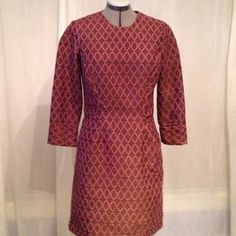Pink & brown dress sewn using Simplicity Project Runway pattern 2282.