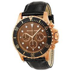 Michael Kors Everest Chronograph Brown Dial Rose Gold-Tone Steel Mens Watch MK8258
