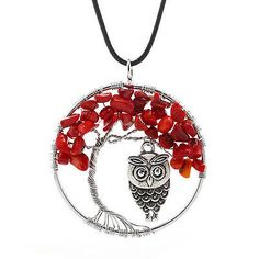 HandMade-Natural-Gem-Gravel-Red-Coral-Tree-Of-Life-With-Owl-Wire-Wrapped-Pendant