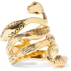 Aurélie Bidermann Mamba gold-plated ring (10.610 RUB) via Polyvore featuring jewelry, rings, gold, snake ring, stackers jewelry, gold plated ring, aurélie bidermann и gold plated jewelry