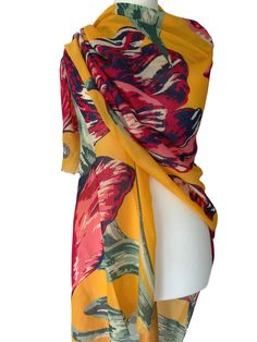 Beautiful large yellow wrap / oversized scarf by Powder with a large pink Tulip print long wide and soft very versatile stunning Lightly feathered Prom Accessories, Cat Scarf, Pashmina Wrap, Cerise Pink, Yellow Tulips, Oversized Scarf, Mustard Yellow, Powder, Cover Up