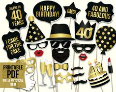 birthday photo booth props: printable PDF Black and gold Dirty thirty props Thirtieth birthday party supplies Mustache, lips black color rgb - Black Things Thirty Birthday, 70th Birthday Parties, 50th Party, Gold Birthday, Gold Party, Men Birthday, Birthday Sayings, 50th Birthday Party Ideas For Men, 30th Birthday Decorations