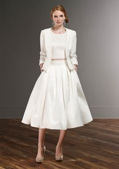 This bridal outfit is cute, flirty and fashionable. Tea length dresses are perfect for summer weddings and the separates theme seems to be a real trend for 2016 bridal.