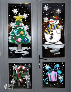 Christmas Crib Ideas, Office Christmas Decorations, Christmas Art Projects, Christmas Window Display, Christmas Paintings, Christmas Wood, Christmas Crafts, Painted Window Art, Painting On Glass Windows