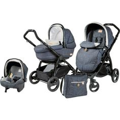 Peg Perego Book Plus Modular Completo Pushchair + baby seat isofix black denim jeans gray - Collection 2014
