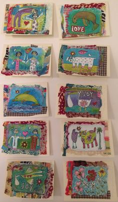 Hand made paper with fabric and sewing.  Lynn Greenberg