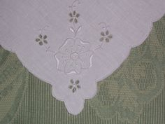 4 Vintage Linen Napkins with White Hand Embroidery
