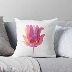 'Watercolor Tulip transparencies' Throw Pillow by Florcitasart My Drawings, Tulips, Original Artwork, My Arts, Collage, Throw Pillows, Watercolor, Art Prints, Printed