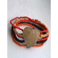 SHELL WOOD BEAD BRACELET just £3.99