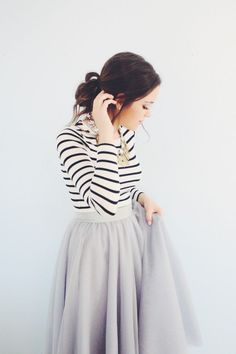 long sleeved tee + tulle skirt