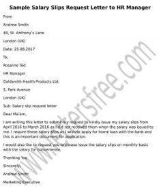 refer to sample request letter to hr manager for salary slips to create a customized letter