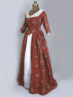 American block print cotton open robe, Idea for my colonial dress this year. 18th Century Dress, 18th Century Costume, 18th Century Clothing, 18th Century Fashion, Vintage Outfits, Vintage Dresses, Vintage Fashion, Vintage Clothing, Women's Clothing