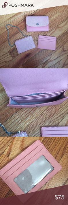 Michael Kors Juliana 3-IN-1 Wallet Pale Pink Like new carried only once, no flaws. Coin pouch never used. Card case used twice. Selling as a set. This color is completely sold out on MK. Priced firm. Michael Kors Bags Wallets