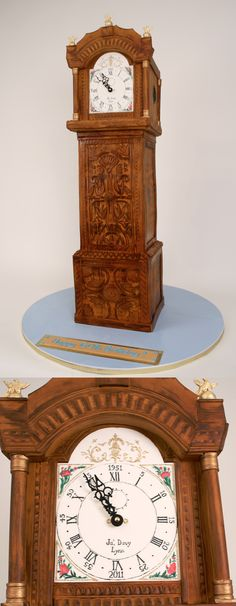 Grandfather Clock cake, (carved wood, timepieces, clocks), Charm City Cakes
