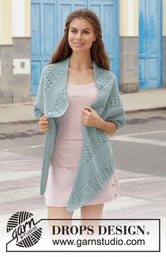 Diandra - Knitted stole with garter stitch and diagonal lace pattern. The piece is worked in DROPS Cotton Merino or DROPS Sky. - Free pattern by DROPS Design Lace Knitting, Knitting Patterns Free, Knit Crochet, Free Pattern, Drops Design, Lace Patterns, Garter Stitch, Knitted Shawls, Point Mousse