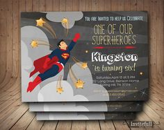 SuperHero InvitationBoys Birthday InvitationSuperMan by invitefull
