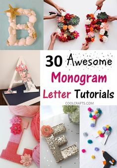 30 monogram letters tutorial that would go perfect on a cake, http://www.coolcrafts.com/monogram-letters-tutorials/