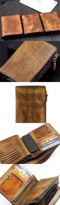 Handmade men short leather wallet men vintage brown gray short wallet for him