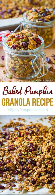 Tastes Like Fall! Baked Pumpkin Granola Recipe on ASpicyPerspective. Baked Pumpkin, Pumpkin Recipes, Fall Recipes, Real Food Recipes, Holiday Recipes, Cooking Recipes, Yummy Food, Healthy Pumpkin, Healthy Snacks