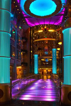 Royal Promenade lights on Freedom of the Seas.