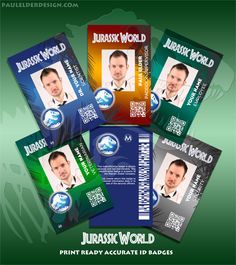 Jurassic World ID badge all colours. instant Download