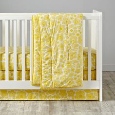 Go Lightly Crib Fitted Sheet (Yellow Floral)   The Land of Nod