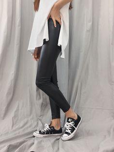 Coated leggings ~ your edgy alternative to leather pants! Surprise Dance, Pants Style, Asian Fashion, Street Fashion, Leather Pants, Alternative, Normcore, Leggings, Street Style